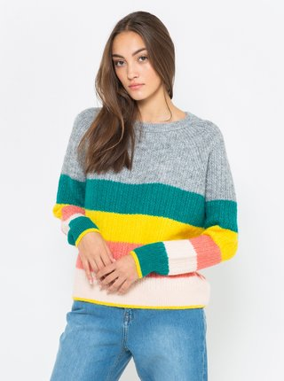 Žluto-šedý svetr s příměsí vlny z Alpaky CAMAIEU