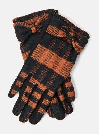 Hnědo-černé kostkované rukavice CAMAIEU