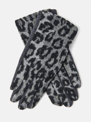 Šedé rukavice s leopardím vzorem CAMAIEU