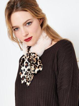 Krémová šatka s leopardím vzorom CAMAIEU