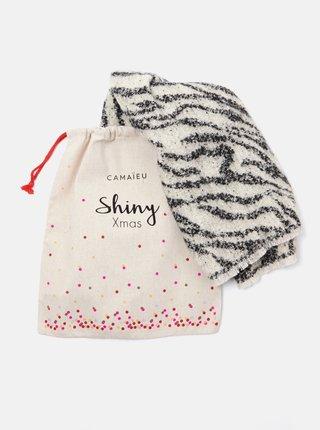 Čierno-biely šál so zebrím vzorom CAMAIEU