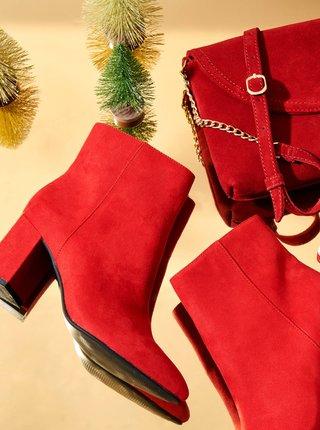 Červené kotníkové boty na podpatku CAMAIEU