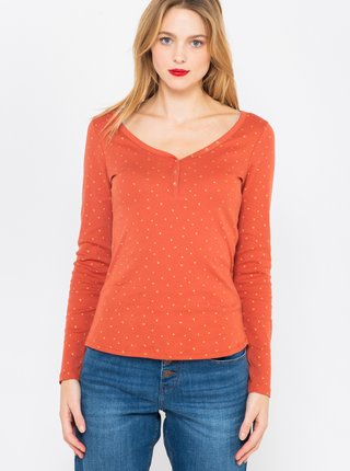 Oranžové vzorované tričko CAMAIEU