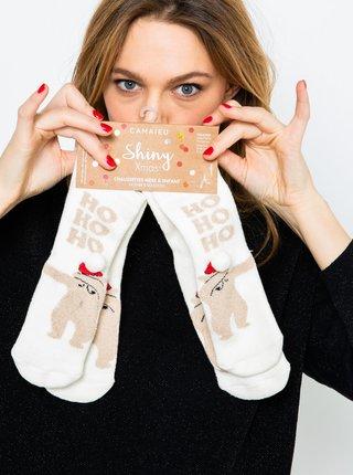 Sada dvoch párov krémových ponožiek s vianočným motívom CAMAIEU