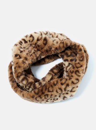 Hnedý šál s leopardím vzorom CAMAIEU