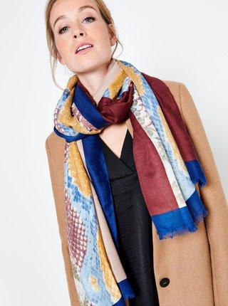 Hnědo-modrý vzorovaný šátek CAMAIEU