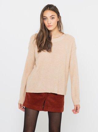 Béžový sveter s prímesou vlny CAMAIEU