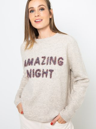 Svetlošedý sveter s nápisom CAMAIEU