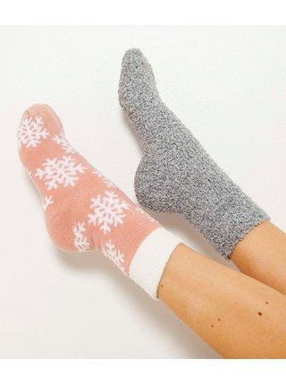 Sada dvou párů ponožek s vánočním motivem v růžové a šedé barvě CAMAIEU