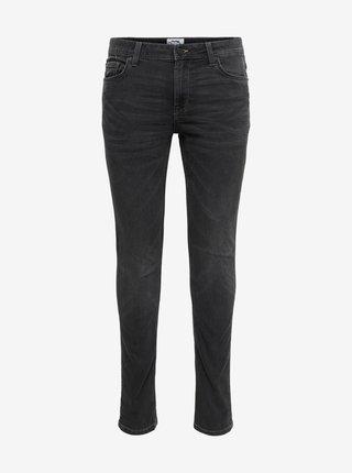 Tmavě šedé skinny fit džíny ONLY & SONS Loom