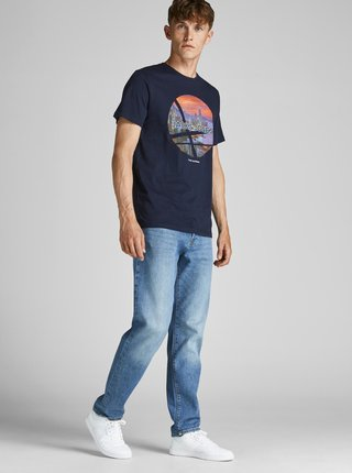 Tmavě modré tričko s potiskem Jack & Jones Urban