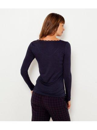 Tmavě modré tričko lemované krajkou CAMAIEU