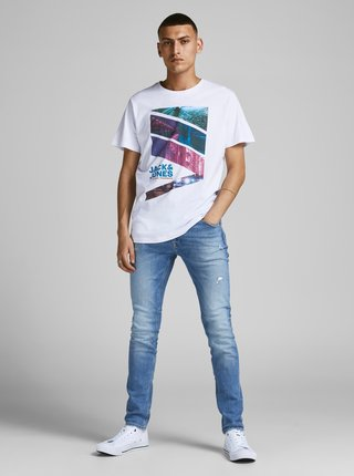 Biele tričko s potlačou Jack & Jones Urban