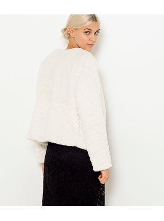Krémový kabátek z umělé kožešiny CAMAIEU