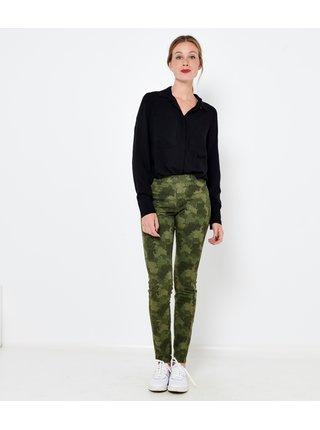 Zelené maskáčové skinny fit džíny Camaieu