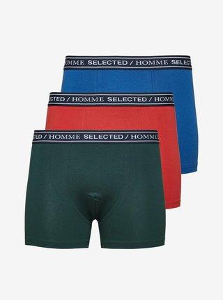 Sada boxerek v zelené, červené a modré barvě Selected Homme Niko