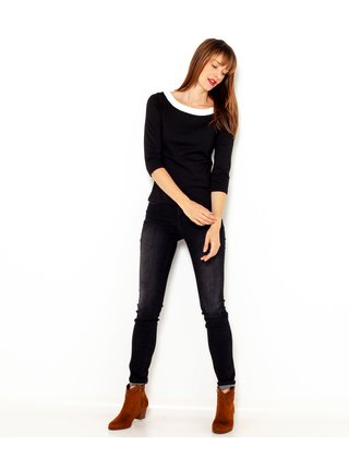 černé tričko s tříčtvrtečním rukávem CAMAIEU