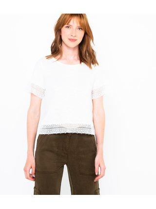 Bílé tričko lemované krajkou CAMAIEU