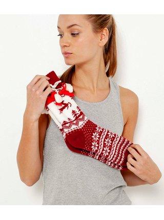 Bielo-červené vzorované ponožky CAMAIEU