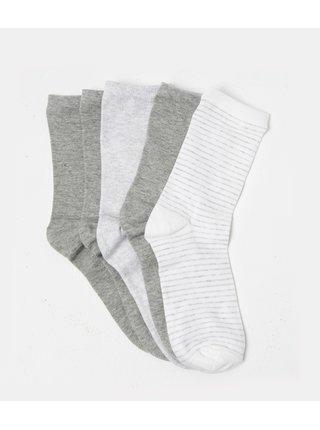 Sada pěti ponožek v šedé a bílé barvě CAMAIEU