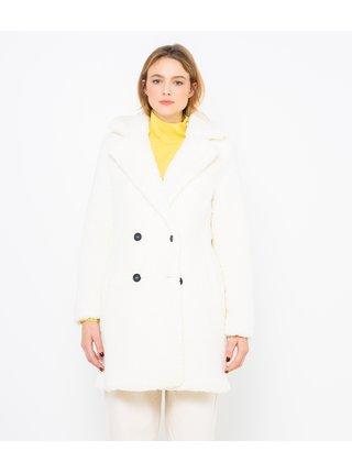 Bílý kabát z umělé kožešiny CAMAIEU