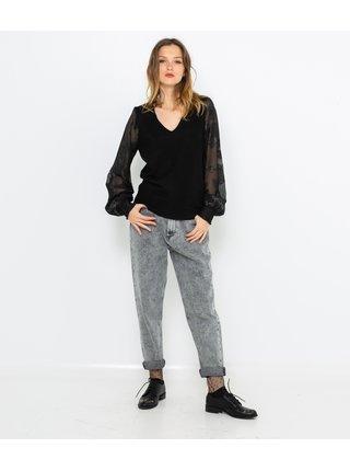 Čierny sveter s priehľadným rukávom CAMAIEU