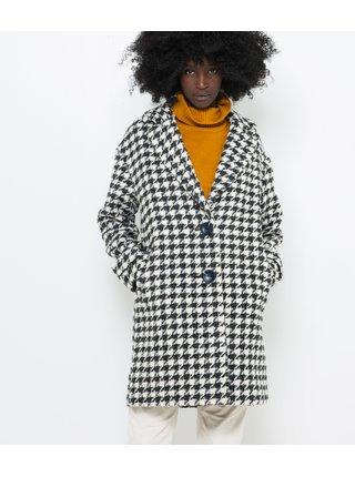 Bielo-čierny kabát s prímesou vlny CAMAIEU