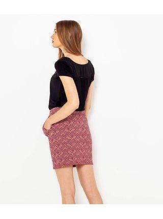 Staroružová vzorovaná púzdrová sukňa CAMAIEU