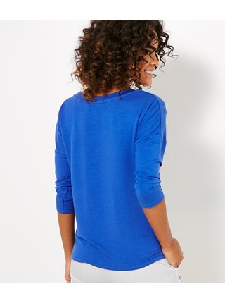 Modré tričko s ozdobným detailem CAMAIEU
