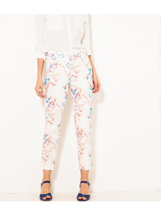 Bílé vzorované zkrácené kalhoty CAMAIEU