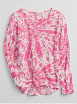 Růžové holčičí tričko s batikou