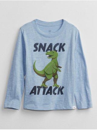 Modré klučičí tričko s dinosarem