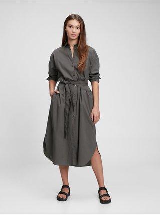 Černé dámské šaty Košilové šaty midi délka