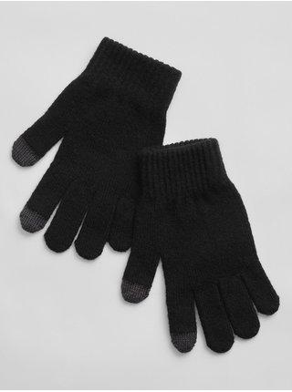 Doplňky - Dětské pletené prstové rukavice Černá