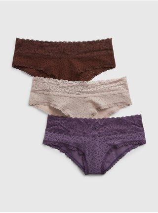 Béžové dámské kalhoty Spodní s krajkou, 3ks