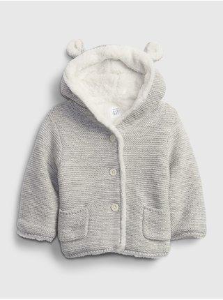 Šedý holčičí kabátek s kožíškem