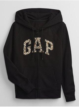 Černá dámská mikina leopard GAP Logo