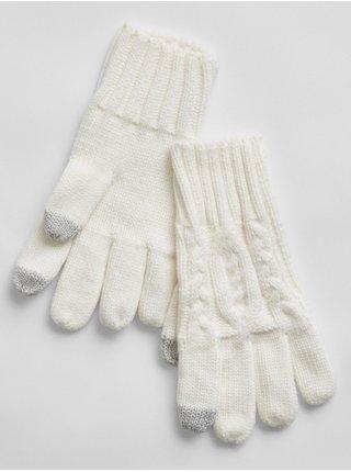 Doplňky - Dětské pletené prstové rukavice Smetanová