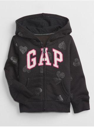 Černá holčičí mikina se srdíčky GAP Logo