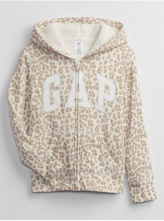 Béžová holčičí mikina leopard GAP Logo