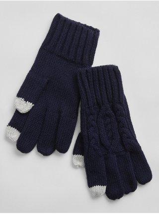 Doplňky - Dětské pletené prstové rukavice Modrá