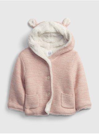 Růžový holčičí kabátek s kožíškem