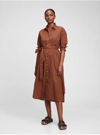 Hnědé dámské šaty Košilové šaty midi délka