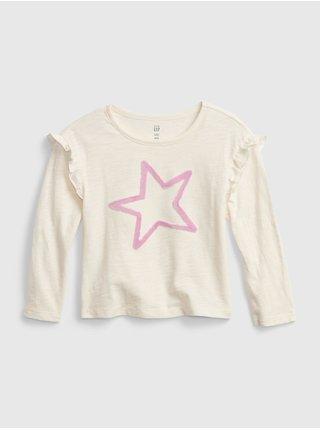 Smetanové holčičí tričko s hvězdou