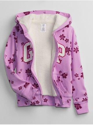 Růžová holčičí mikina květy GAP Logo