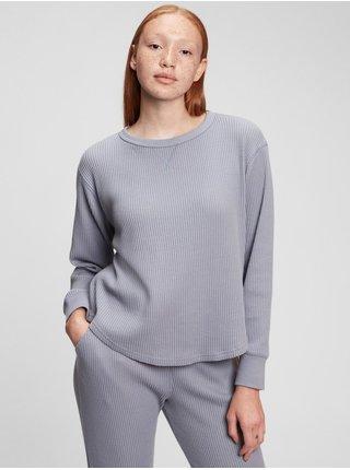 Šedé dámské tričko s vaflovou strukturou