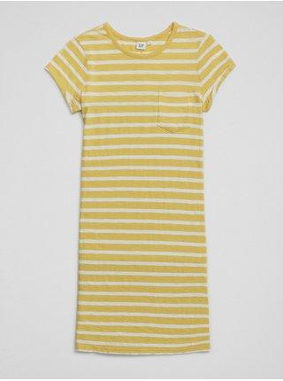 Žluté holčičí šaty Pruhované šaty