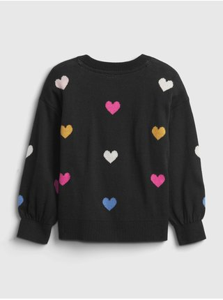 Černý holčičí svetr se srdíčky