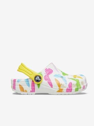 Žlto-biele dievčenské vzorované topánky Crocs