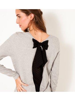 Světle šedý svetr s mašlí na zádech CAMAIEU